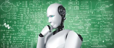 Free Thinking AI Humanoid Robot Analyzing Screen Of Mathematics Formula And Science Stock Images - 216120144