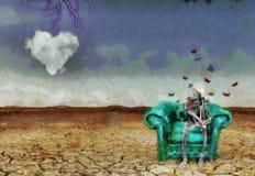 Thinking Alien. Surreal scene. Alien skeleton sits on armchair Stock Image