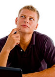 Thinking american male looking upside Stock Photos