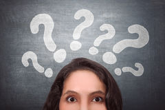 Thinking asian woman with question mark Stock Photography