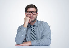 Thinking bearded man with glasses and tie. I think, concept. On background Stock Photography