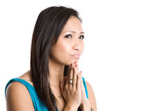 Thinking beautiful asian woman Royalty Free Stock Images