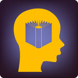Thinking book. Book inside a brain on blue Royalty Free Stock Photo