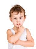 Thinking boy. Portrait of little thinking boy Royalty Free Stock Image