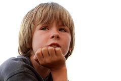 Thinking boy. Face of a little boy being thinking Royalty Free Stock Photos
