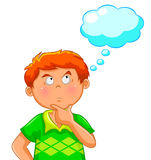 Thinking boy. Boy thinking with a blank thought bubble over his head Royalty Free Stock Photos