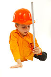 Thinking boy holding measure tool Stock Photography