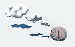 Thinking Brain. Brain with 3D Thought Clouds Royalty Free Stock Images