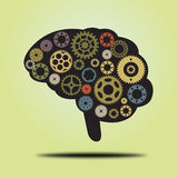 Thinking brain. Illustration of a brain with moving gears stock illustration