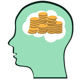 Thinking Brain Money Mind Stock Image