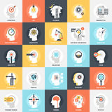 Thinking and brain process. Modern flat vector illustration of thinking and brain process icon design concept. Icon for mobile and web graphics. Flat symbol vector illustration