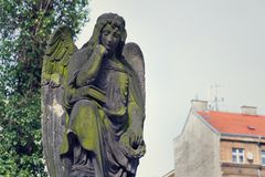 Thinking broody angel statue on Malostransky cemetery, Prague, Czech Republic. Contemplative angel statue with laurel wreath on Malostransky cemetery, Prague Stock Image