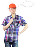 Thinking builder with thought bubble Stock Photo