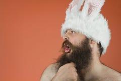 Thinking Bunny Man Stock Photo