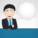 Thinking business man with cloud as blank template Royalty Free Stock Photo