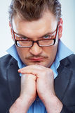 Thinking Business man funny portrait. Isolated. Stock Images