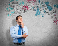 Thinking business man Royalty Free Stock Photo