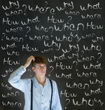 Thinking business man with chalk questions what why when where who and how Royalty Free Stock Photos