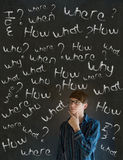 Thinking business man with chalk questions Stock Photo