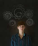 Thinking businessman with gear cogs and hamster. Thinking business man turning gear cogs and running hamster Stock Image