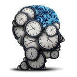 Thinking Business Time. Concept as a group of clock objects shaped as a human head  with gears and cog wheels as the inside brain as a corporate punctuality and Stock Image