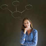 Thinking business woman with chalk cloud thoughts Royalty Free Stock Images