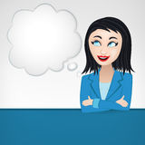 Thinking business woman with cloud as blank template Royalty Free Stock Photography