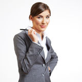 Thinking business woman hold pen. Stock Photo