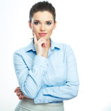 Thinking business woman isolated portrait. Stock Photos