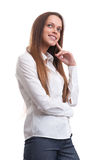 Thinking business woman portrait Stock Images