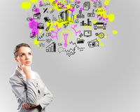 Thinking business woman Royalty Free Stock Photography
