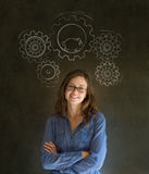 Thinking business woman with gear cogs and hamster Royalty Free Stock Image