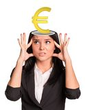 Thinking businesslady with euro sign Stock Image