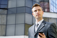 Thinking businessman. Businessman thinks about the success of his case Royalty Free Stock Image