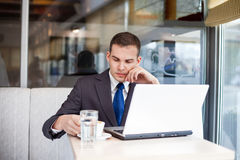 Thinking businessman on coffee break Royalty Free Stock Photo