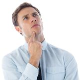 Thinking businessman with finger on chin Royalty Free Stock Photo