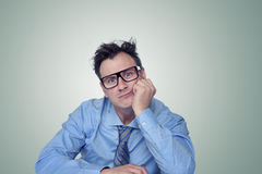 Thinking businessman in glasses Stock Photos