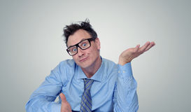 Thinking businessman in glasses Royalty Free Stock Photo