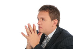 Thinking businessman with hands. On white royalty free stock photography