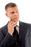 Thinking businessman looking sideways Stock Photos