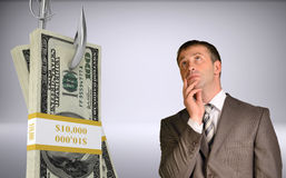 Thinking businessman looking up Royalty Free Stock Images