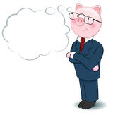 Thinking Businessman Pig Stock Images