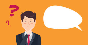 Thinking businessman with question mark. Thinking man with question mark. Cartoon  illustration of businessman wondering and doubting Stock Photo