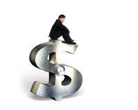 Thinking businessman sitting on silver dollar sign with lock Royalty Free Stock Photos
