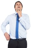 Thinking businessman touching his chin Stock Photo