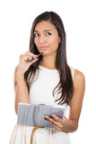 Thinking businesswoman portrait cutout. Royalty Free Stock Image