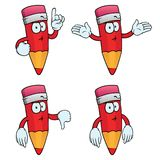 Thinking cartoon pencils set. Collection of thinking cartoon pencils with various gestures Stock Photography
