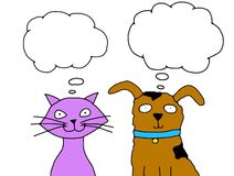 Thinking Cat and Dog Stock Photography