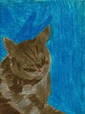 Thinking Cat - Oil Pastel Painting. This is a hand drawn oil pastel drawing. The drawing shows a brown cat with green eyes in the foreground. The background is vector illustration