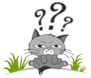 Thinking cat with questions mark above. On white background royalty free illustration